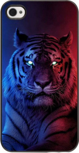 Coque iPhone 4/4s - Tiger Blue Red