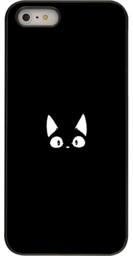 Coque iPhone 5/5s/SE - Funny cat on black