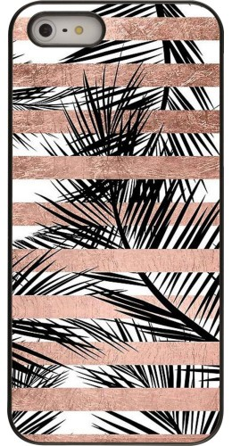 Coque iPhone 5/5s/SE - Palm trees gold stripes