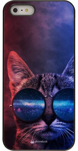 Coque iPhone 5/5s / SE (2016) - Red Blue Cat Glasses
