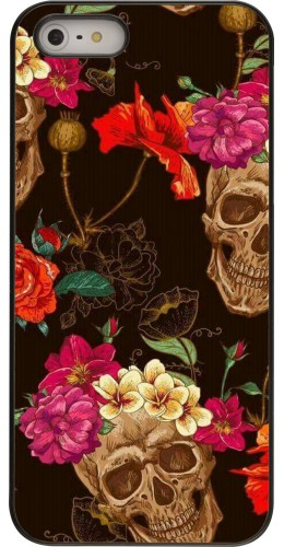 Coque iPhone 5/5s / SE (2016) - Skulls and flowers