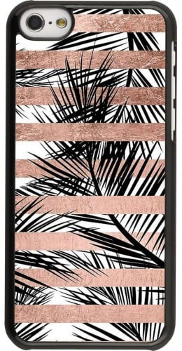 Coque iPhone 5c - Palm trees gold stripes
