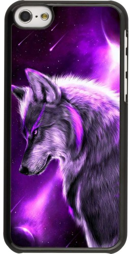 Coque iPhone 5c - Purple Sky Wolf
