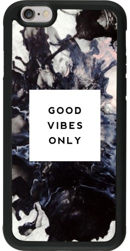 Coque iPhone 6/6s - Silicone rigide noir Marble Good Vibes Only