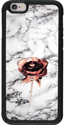 Coque iPhone 6/6s - Silicone rigide noir Marble Rose Gold