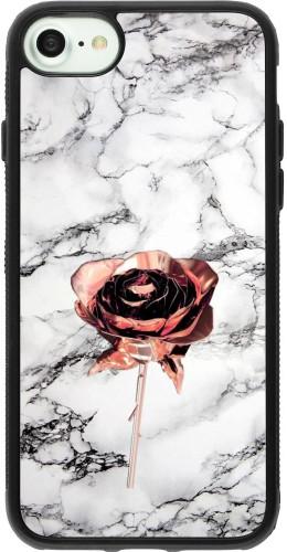 Coque iPhone 7 / 8 / SE (2020) - Silicone rigide noir Marble Rose Gold