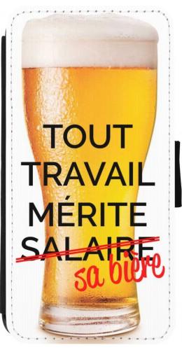 Coque iPhone 7 / 8 - Wallet noir Tout travail mérite sa bière