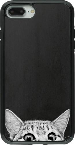 Coque iPhone 7 Plus / 8 Plus - Hybrid Armor noir Cat Looking Up