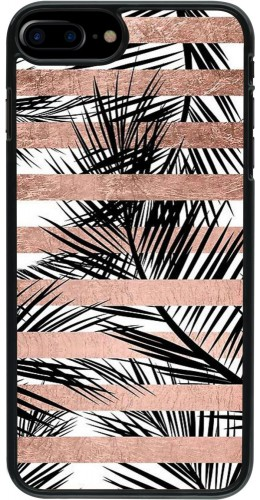 Coque iPhone 7 Plus / 8 Plus - Palm trees gold stripes