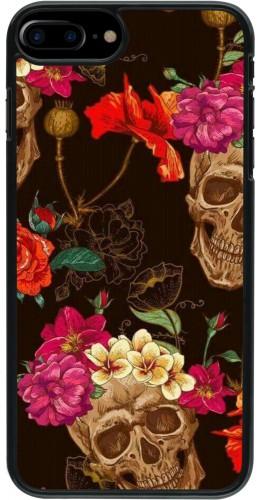 Coque iPhone 7 Plus / 8 Plus - Skulls and flowers