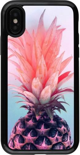 Coque iPhone X / Xs - Hybrid Armor noir Purple Pink Pineapple