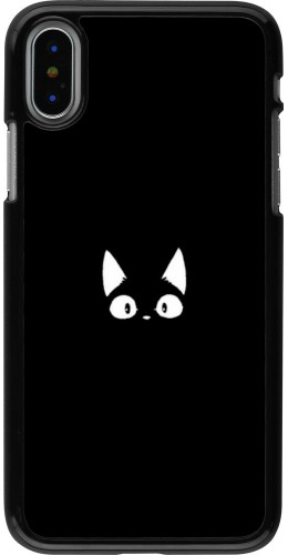 Coque iPhone X / Xs - Funny cat on black