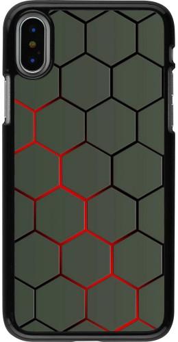 Coque iPhone X / Xs - Geometric Line red