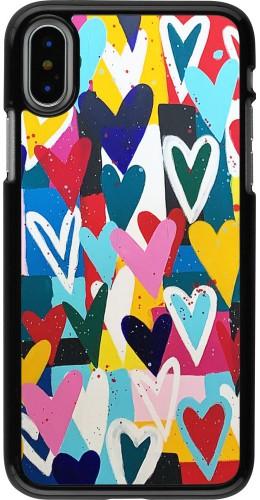 Coque iPhone X / Xs - Joyful Hearts