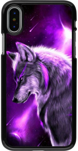 Coque iPhone X / Xs - Purple Sky Wolf