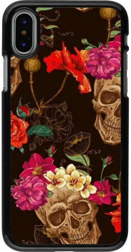 Coque iPhone X / Xs - Skulls and flowers