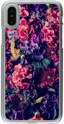 Coque iPhone X - Plastique transparent Flowers Dark