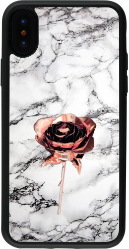 Coque iPhone X / Xs - Silicone rigide noir Marble Rose Gold