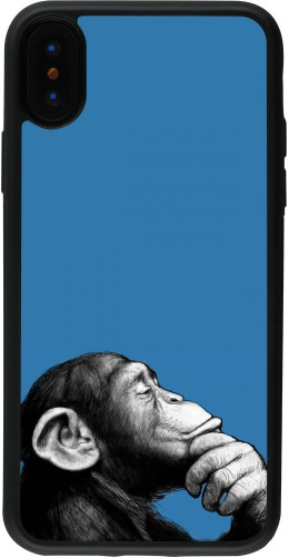 Coque iPhone X / Xs - Silicone rigide noir Monkey Pop Art