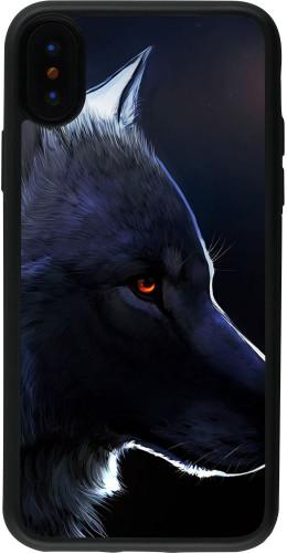 Coque iPhone X / Xs - Silicone rigide noir Wolf Shape