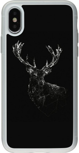 Coque iPhone X / Xs - Silicone rigide transparent Abstract deer
