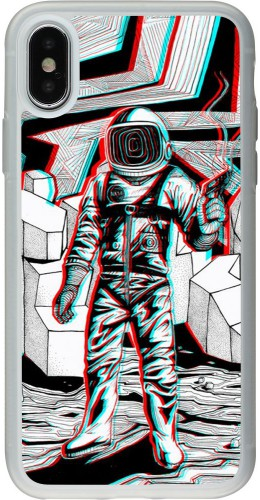 Coque iPhone X / Xs - Silicone rigide transparent Anaglyph Astronaut