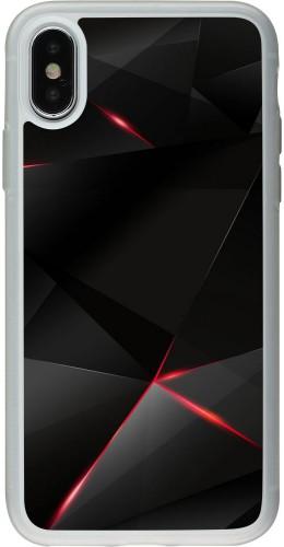 Coque iPhone X / Xs - Silicone rigide transparent Black Red Lines