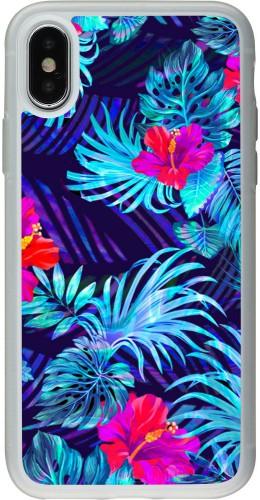 Coque iPhone X / Xs - Silicone rigide transparent Blue Forest