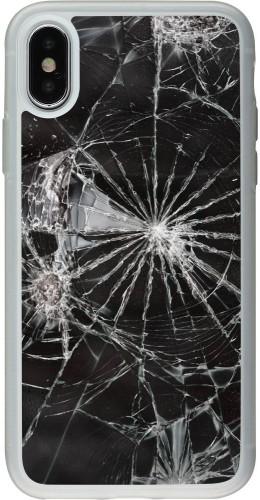 Coque iPhone X / Xs - Silicone rigide transparent Broken Screen