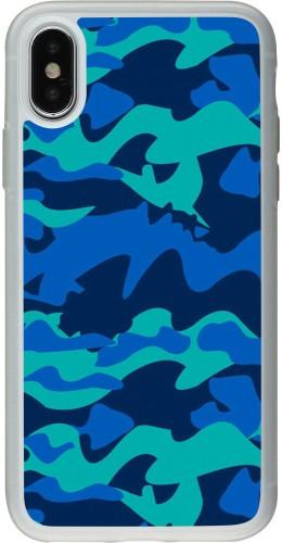 Coque iPhone X / Xs - Silicone rigide transparent Camo Blue