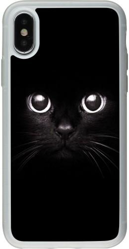 Coque iPhone X / Xs - Silicone rigide transparent Cat eyes