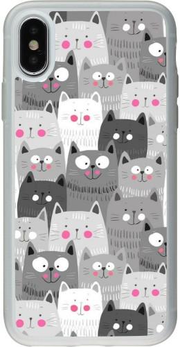 Coque iPhone X / Xs - Silicone rigide transparent Chats gris troupeau