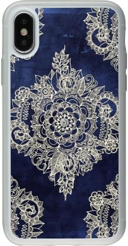 Coque iPhone X / Xs - Silicone rigide transparent Cream Flower Moroccan