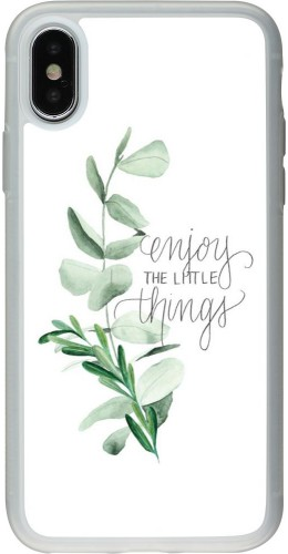 Coque iPhone X / Xs - Silicone rigide transparent Enjoy the little things