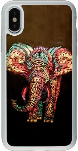 Coque iPhone X / Xs - Silicone rigide transparent Elephant 02