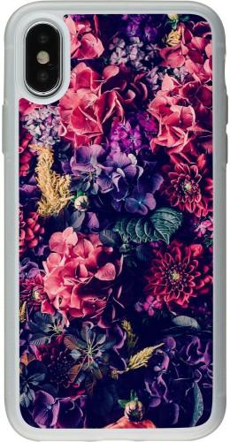 Coque iPhone X / Xs - Silicone rigide transparent Flowers Dark