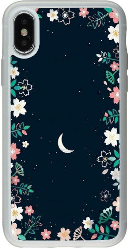 Coque iPhone X / Xs - Silicone rigide transparent Flowers space