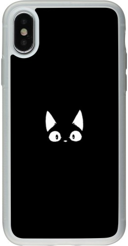 Coque iPhone X / Xs - Silicone rigide transparent Funny cat on black