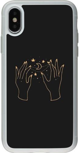 Coque iPhone X / Xs - Silicone rigide transparent Grey magic hands