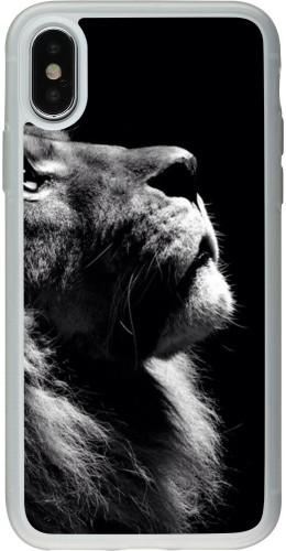 Coque iPhone X - Silicone rigide transparent Lion looking up