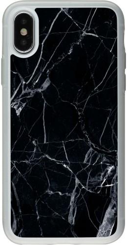 Coque iPhone X / Xs - Silicone rigide transparent Marble Black 01