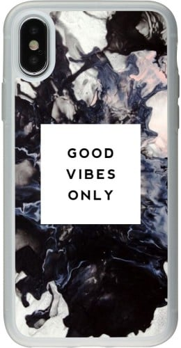 Coque iPhone X / Xs - Silicone rigide transparent Marble Good Vibes Only