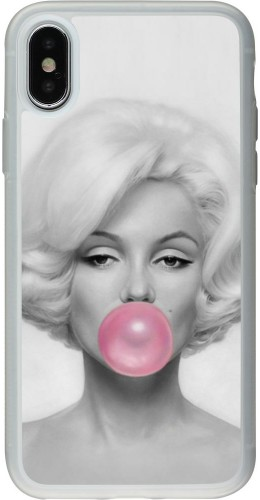 Coque iPhone X / Xs - Silicone rigide transparent Marilyn Bubble