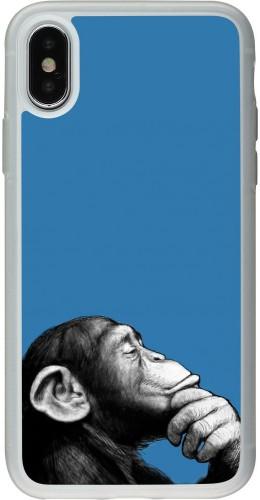Coque iPhone X / Xs - Silicone rigide transparent Monkey Pop Art