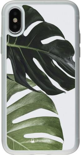 Coque iPhone X / Xs - Silicone rigide transparent Monstera Plant