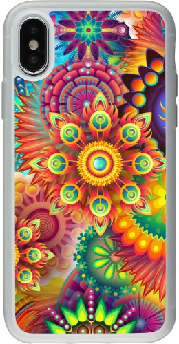 Coque iPhone X / Xs - Silicone rigide transparent Multicolor aztec