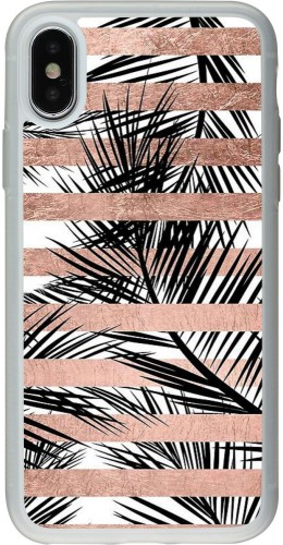 Coque iPhone X / Xs - Silicone rigide transparent Palm trees gold stripes