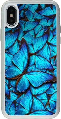 Coque iPhone X / Xs - Silicone rigide transparent Papillon bleu