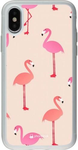 Coque iPhone X / Xs - Silicone rigide transparent Pink Flamingos Pattern