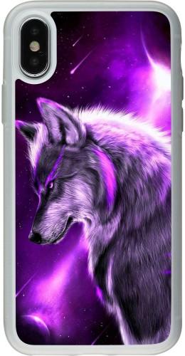 Coque iPhone X / Xs - Silicone rigide transparent Purple Sky Wolf